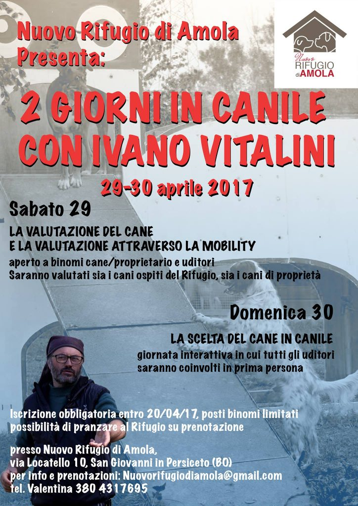 San Giovanni in Persiceto (BO) 29 e 30 Aprile 2017 - Due giorni in Canile con Ivano Vitalini
