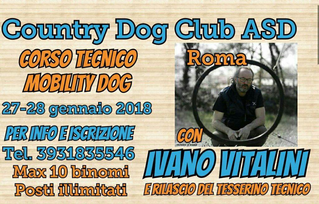Frascati (RM) 27 e 28 Gennaio 2018 - Corso Teorico e Pratico di Mobility Dog con Ivano Vitalini