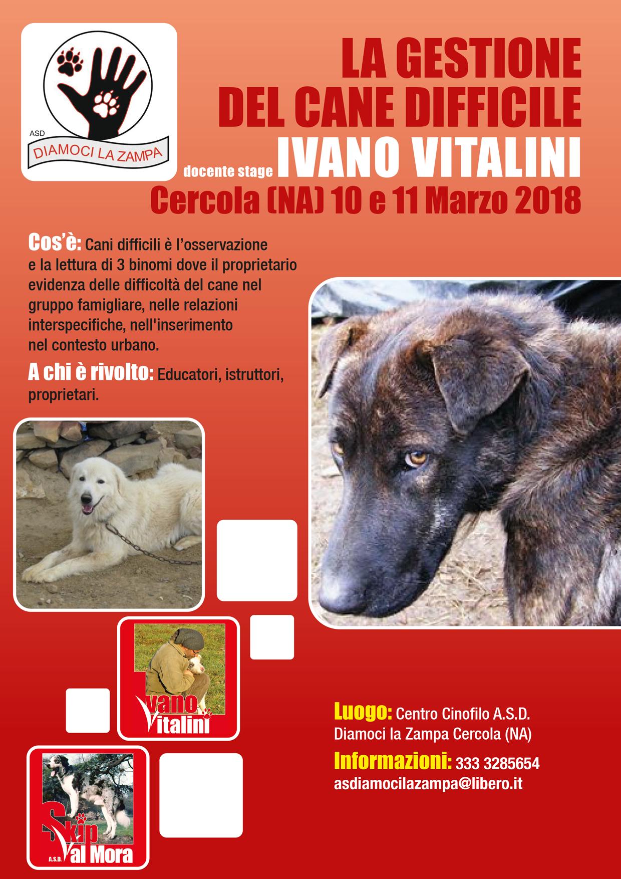 Cercola (NA) 10 e 11 Marzo 2018 - La gestione del cane difficile con Ivano Vitalini