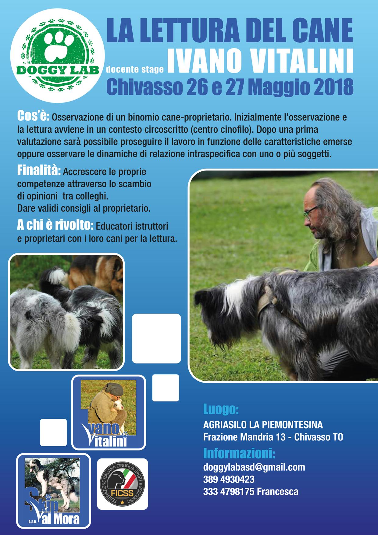 Chivasso (TO) 26 e 27 Maggio 2018 - Lettura del cane con Ivano Vitalini