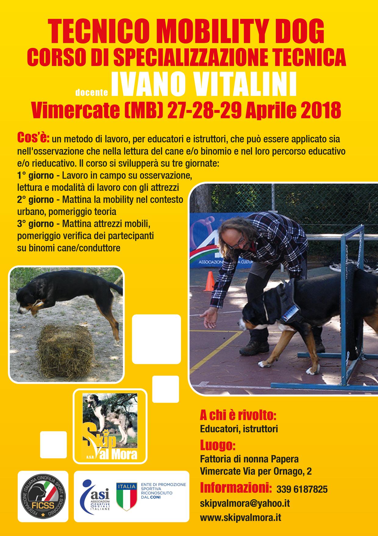 Vimercate (MB) 27-28-29 Aprile 2018 - Tecnico Mobility Dog con Ivano Vitalini