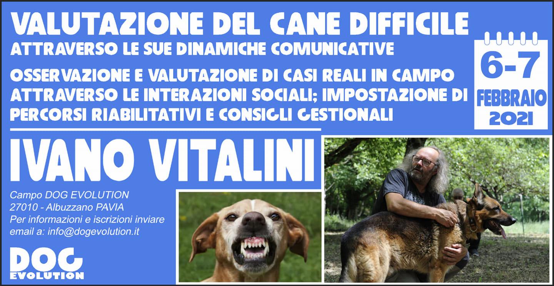 PAVIA 6-7 Febbraio 2021 - La valutazione del cane difficile con Ivano Vitalini