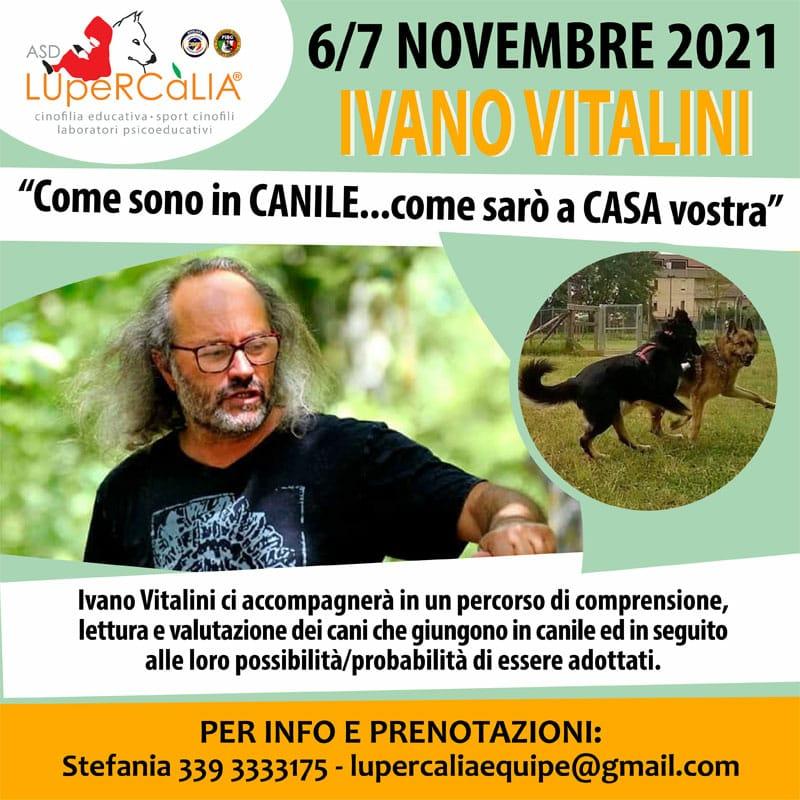 6 e 7 Novembre 2021 - La valutazione del cane in canile con Ivano Vitalini