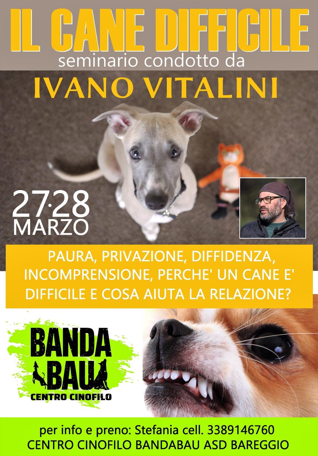 MILANO 27, 28 Marzo 2021 - Il cane difficile con Ivano Vitalini