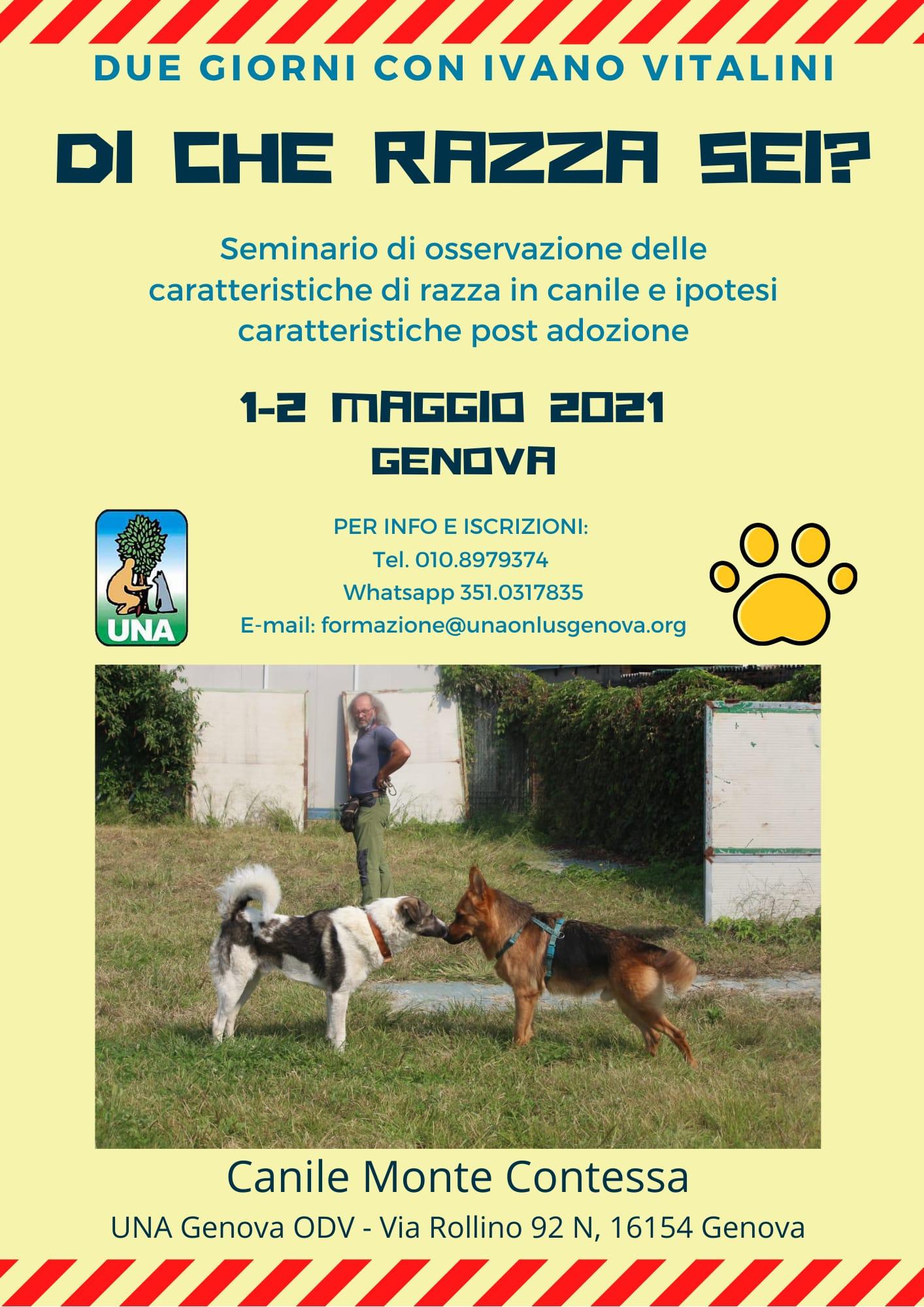 GENOVA 1-2 Maggio 2021 - Seminario di osservazione delle caratteristiche di razza con Ivano Vitalini