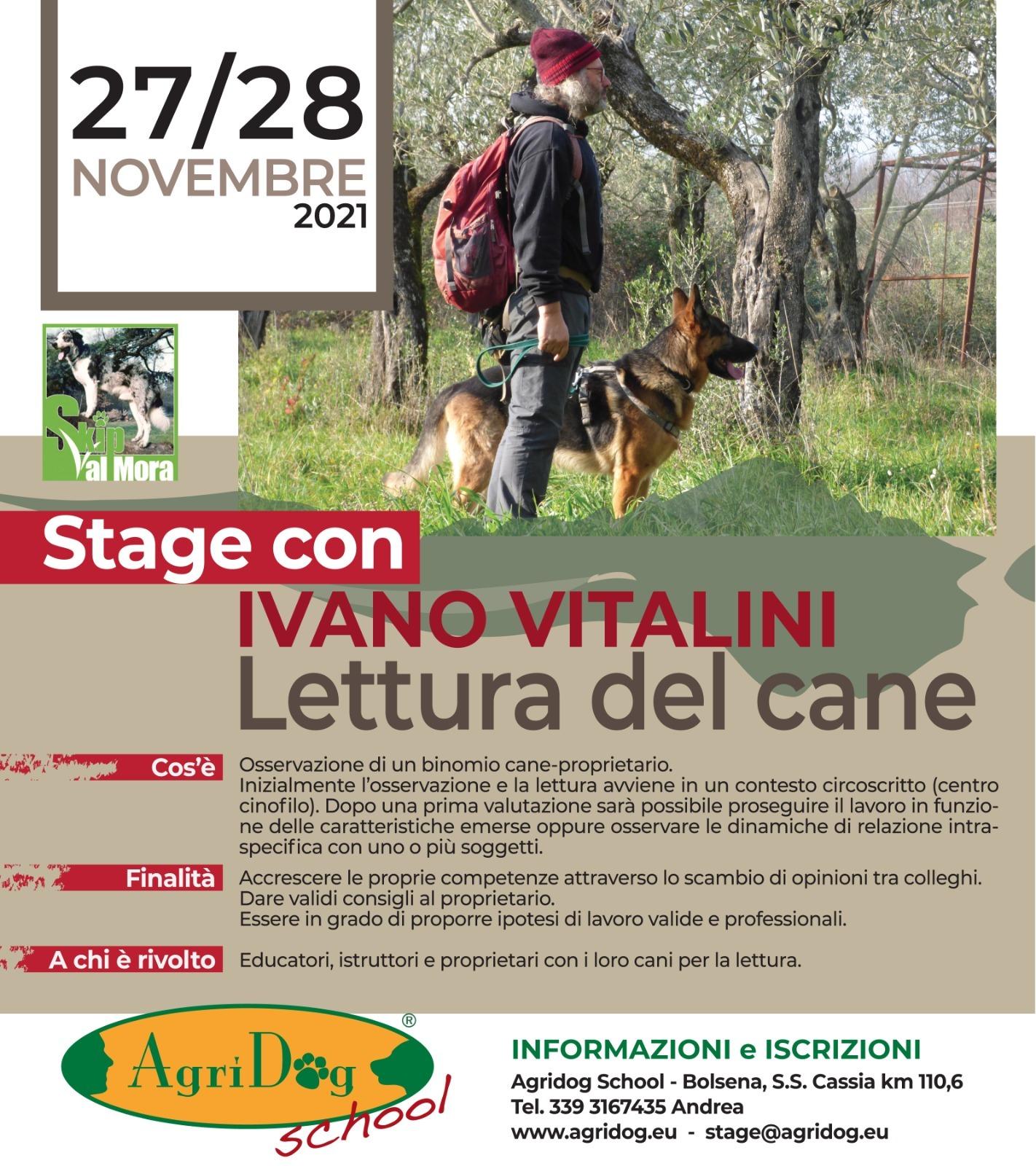 Bolsena (VT) 27 e 28 novembre 2021 - Seminario di lettura del cane con Ivano Vitalini
