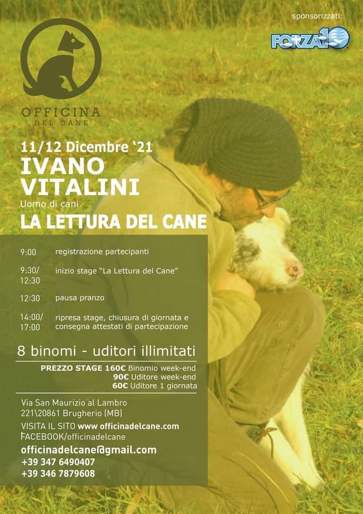Brugherio (MB) 11 e 12 dicembree 2021 - La lettura del cane con Ivano Vitali